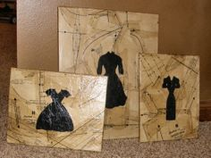 Sewing pattern paper on canvas with painted dresses