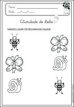 Escolinha Lúdica ::: Atividades para Maternal Tracing Worksheets, Kindergarten Worksheets, Worksheets For Kids, Animal Activities, Infant Activities, April Preschool, Printable Alphabet Letters, Working With Children, Matching Games