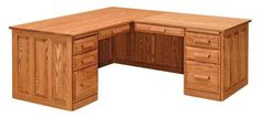 Amish Classic Corner Computer Desk Spacious and strong, this computer desk is Amish made in the wood and finish you choose. Quality office furniture built to last.