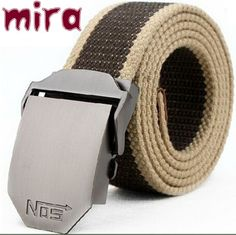 New Arrival Real Striped Adult Fashion Men Free Leather Belt Ultra Long 140 Canvas Belt Man Automatic Buckle Strap Knitted.  $5.64