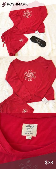 "Holiday PJ's Set This is a NWT Vintage Jane & Bleeker red pj's set. Super cozy feel. Materials are 60% cotton & 40% polyester. ⚜Please see my ""reasonable offers"" listing at the top of my page before submitting an offer⚜Thank you Vintage  Intimates & Sleepwear Pajamas"