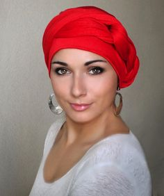 Red Turban Dreads Wrap Head Wrap by TurbanDiva