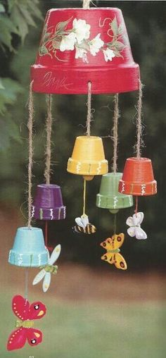 Cute ideas using flower pots and wooden animal shapes