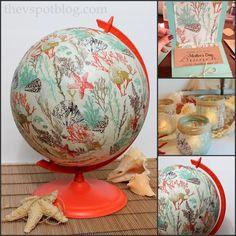 An old globe gets a coastal inspired make-over. (Using paper napkins and Mod Podge.) - The V Spot