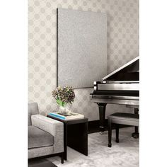 Seabrook Wallpaper - Lux Decor - Geometric circle design wallcovering in a music room photo Wallpapering Tips, Piano Room, Geometric Circle, Sitting Rooms, Circle Design, Designer Wallpaper, Wood Paneling, Pattern Wallpaper, Decorative Accessories