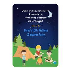 Camping Birthday Party Invitations Boys Camping Sleepover Birthday Party Invitation
