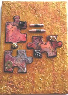 Oriental piece altering jigsaw pieces onto a canvas Puzzle Piece Crafts, Puzzle Art, Puzzle Pieces, Altered Books, Altered Art, Puzzle Jewelry, Recycled Jewelry, Tiny Treasures, Mixed Media Art