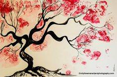 Contemporary Landscape Red Flower Japanese by EmilyNewmanArt Japanese Blossom, Japanese Flowers, Japanese Watercolor, Watercolor Art, Traditional Japanese Art, Contemporary Landscape, Red Flowers, Flower Art, Moose Art