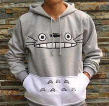 3D shopping outono Totoro japonês dos desenhos animados Anime Cosplay Costume Sportswear mulheres homens camisola Hoodies com bolso cor cinza(China (Mainland))