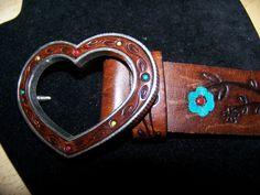 Vintage Hand Tooled Painted Floral Heart Brown by vintageatitsbest, $18.95