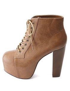 Lace-Up Wooden Heel Platform Booties: Charlotte Russe