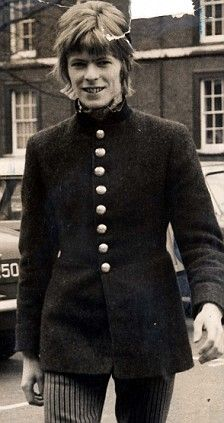 Bowie in the Sixties in a military-style jacket he'd made
