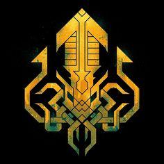 'Golden Kraken Sigil' Art Print by etall Kraken Art, Kraken Logo, Necronomicon Lovecraft, Tumblr Sketches, Design Art, Logo Design, Octopus Art, Arte Cyberpunk, Desenho Tattoo