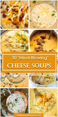 30 Mind Blowing Cheese Soups - a cup of cheese soup is rich, satisfying = the perfect comfort food for a cool fall or winter dinner or lunch. Chowder Recipes, Soup Recipes, Dinner Recipes, Cooking Recipes, Dinner Ideas, Recipies, New Recipes, Favorite Recipes, Healthy Recipes
