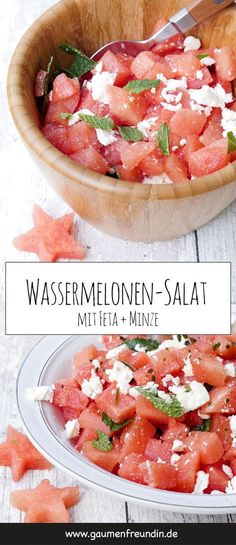 Fast watermelon feta salad - the refreshing summer salad - Contains advertising. Fast watermelon and feta salad with mint and a dressing made from lime juice - Watermelon Mint Lemonade, Watermelon And Feta, Fruit Recipes, Salad Recipes, Snack Recipes, Juice Recipes, Summer Grilling Recipes, Summer Recipes, Feta Salat