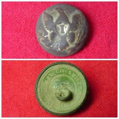 "Recently excavated gilted Federal Infantry Officer's Eagle ""I"" button.  This was recovered on private property along the Battle Line at the Nov. 30, 1864 Battle of Franklin, TN."