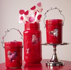 Heart Jars - Valentine Heart Mason Jars - Valentine Day Crafts with Mason Jars - Valentine Gift in Jars
