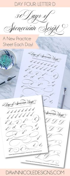 Spencerian Script Style: Letter D Worksheets. This post is part of the 30 Days of #SpencerianScript Style Worksheets series. I'm posting a new free Spencerian Style Practice Worksheet every day for thirty days!