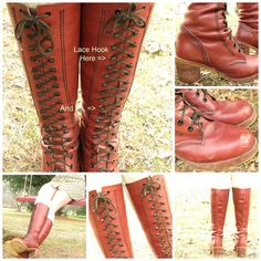 SALE! Was $125 abd FREE SHIPPING! Gorgeous pair of vintage leather boots. Tall with laces up the front. Boho, hippie style and detailed