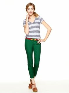 Women's Clothing: We ♥ Outfits | Gap (Mercer V-neck striped T, Slim cropped refined pants, T-strap wedge sandal)
