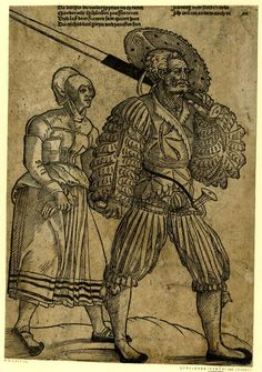 1525-1580 (circa)     Printed by: Hans Guldenmundt.     Print made by: Erhard Schön.  A landsknecht and his wife; WL figures, walking to r; the soldier carrying his sword over his l shoulder. Woodcut and letterpress.  Six lines of letterpress in two columns above the figure: 'Da dorffes du weder spyelen noch keren ... Ich will ein anders auch ve [illeg.] en.'