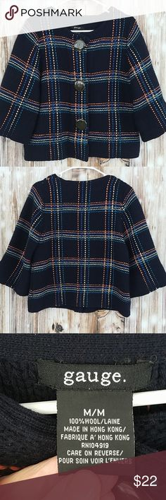82a0b671ba8f Gauge wool cape jacket sweater M plaid Absolutely gorgeous thick 100% wool  cape jacket