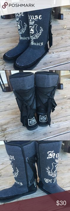 """🎲 Juicy Couture Boots 🎲 Grey & white Juicy Couture boots with black lace up on back. """"House of Juicy"""" Brand new condition. 🎲 No Trades • Only Sell On Poshmark • Price Is Firm 🎲 Juicy Couture Shoes"""