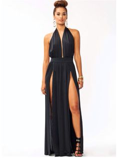 f7125a2b49 Take The Plunge Slit Dress