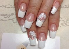 white acrylic nail with flower