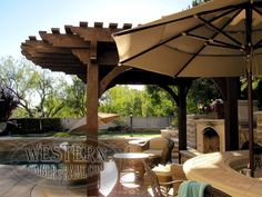 Free standing pool side pergola with Rich Cordoba stain and Roosevelt Step profile. Upgraded radius roof.