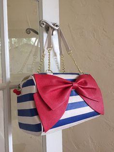 Betsey Johnson Satchel Bow Regard Blue White Stripe Red Bow BM18835 MSPR $108 #BetseyJohnson #Satchel
