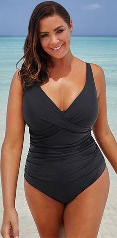 74d6c0b9048 BLACK V-NECK SWIMSUIT     plussize  swimwear  plussizefashion  curvyfashion
