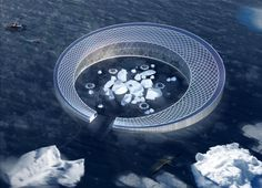 Floating farm city harvests icebergs for hydroponics. Four French architecture students hope to create a new kind of fertile crescent in the North Atlantic, designing a C-shaped vessel that would irrigate crops with icebergs and house up to 800 people.