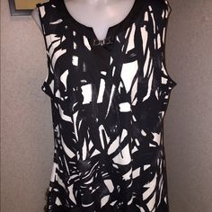 New Directions XL NWT Black/White Sleeves Shirt New Directions XL Black/White NWT Sleeveless Shirt new directions Tops Tank Tops