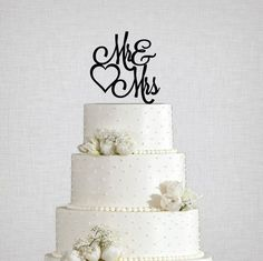 Mr and Mrs with Heart Wedding Cake Topper -   - Pink Poppy Party Shoppe - 1