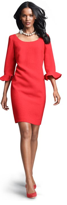 Ann Taylor...love the ruffle on the sleeve  Perfect holiday dress for my granddaughters!