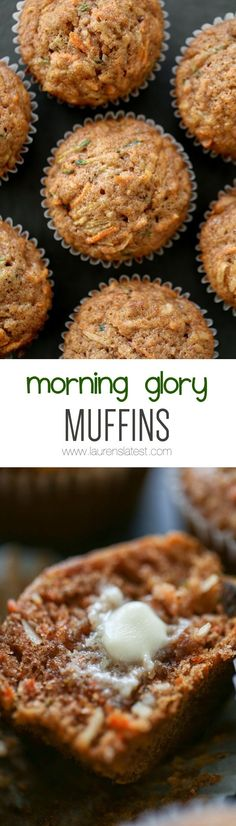 Morning Glory Muffins Sweetened with coconut, maple syrup and applesauce. Add shredded carrots and zucchini to get kiddos to eat their veggies