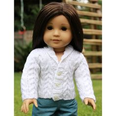 "18"" Doll Clothes - Seperates - White Comfy Cables Sweater to fit American Girl. Sold via Etsy. (Original pattern available from PixieFaire - http://www.pixiefaire.com/products/comfy-cables-knitting-pattern)"