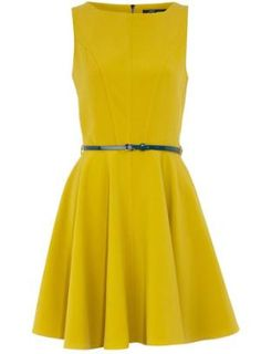 Yellow flared belted dress - Dresses Sale - Dresses - Dorothy Perkins