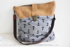Schultertasche im maritimen Stil, Anker, mit Leder / leather shopper bag, anchor, vintage style by Buntgenäht via DaWanda.com