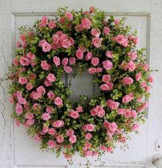 Pink Tea Rose Wreath Summer Wreath