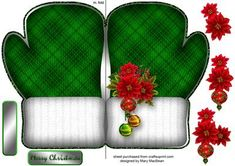 """Christmas Mittens Green on Craftsuprint designed by Mary MacBean - Fun Christmas mitten-shaped card with knitted texture and decoupage. There is a Merry Christmas sentiment or a blank tag for your own message. The finished card is approximately 5"""" x 7"""" - Now available for download!"""