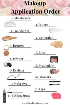 makeup For Beginners eyebrows - How many of you have no idea what order you should be applying your makeup? I know a ton of makeup Contour Makeup, Skin Makeup, Makeup Brushes, Beauty Makeup, Beauty Skin, Eyeliner Makeup, Drugstore Beauty, Mac Eyeshadow, Makeup Guide