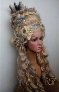 Blonde wig Marie-Antoinette wig Historical wig Rococo wig century Decorated wig Styled wig with flowers carnival wig Cosplay headdress - Historical Fashion Blonde Hair Extensions, Blonde Wig, Historical Hairstyles, Avant Garde Hair, 18th Century Fashion, Fantasy Hair, Fantasy Makeup, Baroque Fashion, High Fashion