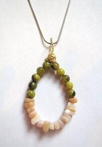 Genuine green Jasper and Pink Opal wire wrapped hooped pendant.
