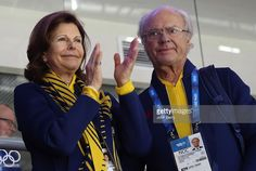 King Carl XVI Gustaf of Sweden and Queen Silvia of Sweden attend the Men's Ice Hockey Preliminary Round Group C game between Sweden and Switzerland on day seven of the Sochi 2014 Winter Olympics at Bolshoy Ice Dome on February 14, 2014 in Sochi, Russia.