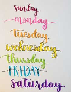 Seven title ideas for every day of the week (perfect for bullet journals). Lettered with Tombow Dual tip brush pens, white gel pen and Faber-Castell PITT artist pen. Bullet Journal Banner, Bullet Journal Art, Bullet Journals, Bujo, Hand Lettering Alphabet, Brush Lettering, Pitt Artist Pens, Tombow Dual Brush Pen, Creative Lettering