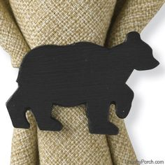 I Cut Out Tiny Bears From Wood Glued Them To Wooden Napkin Rings Painted  Them All. Black Bear DecorBear ...