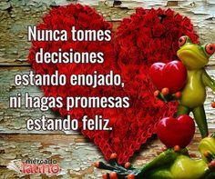 Nunca tomes decisiones estando enojado, ni hagas promesas estando feliz.