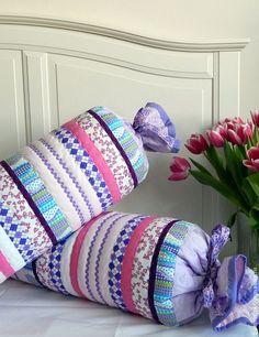 """Купить Декоративные валики-подушки """"Конфетки"""" - сиреневый, валик, подушка декоративная, подушка, лоскутное шитье"""